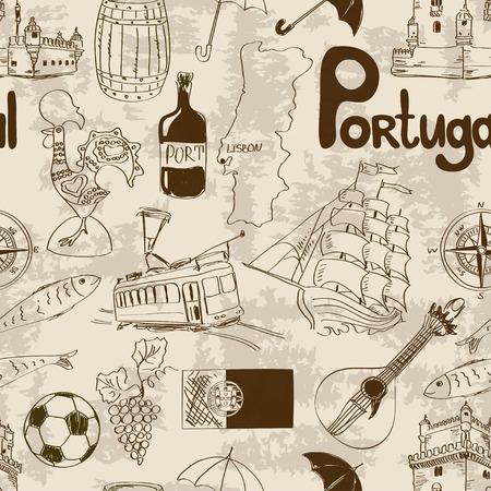 trams: Fun sketch Portugal seamless pattern Illustration