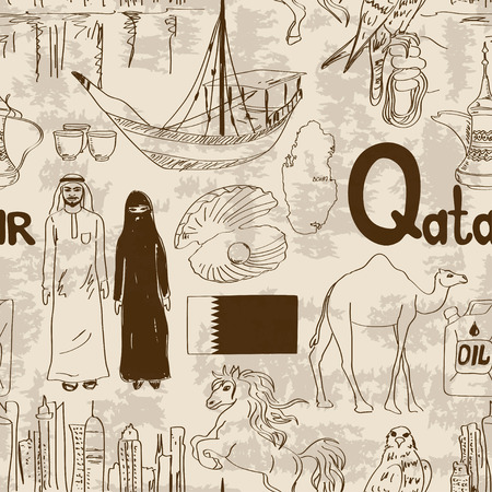 Fun sketch Qatar seamless pattern Vector