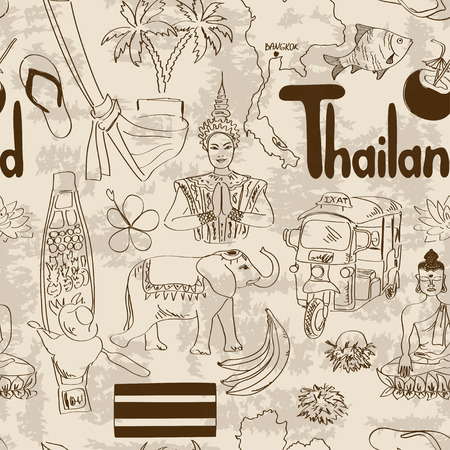 thai women: Fun sketch Thailand seamless pattern Illustration