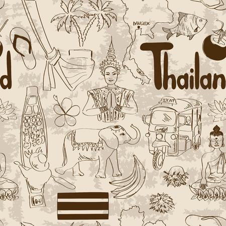 Fun sketch Thailand seamless pattern Illustration