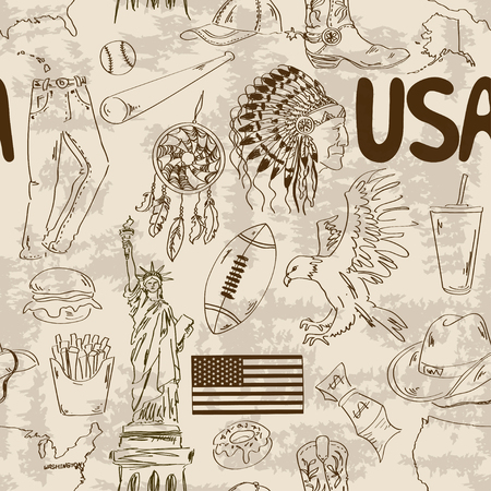 Fun sketch USA seamless pattern Vector