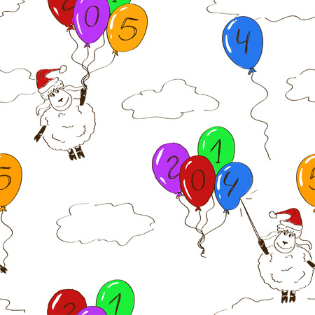 Sketching seamless pattern of funny New Year sheep Vector