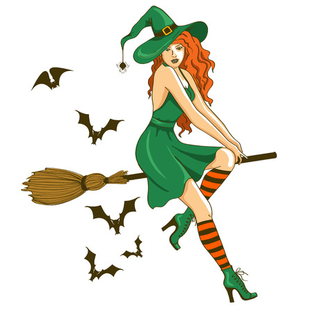 Illustration of isolated young beautiful witch sitting on the broom Illustration