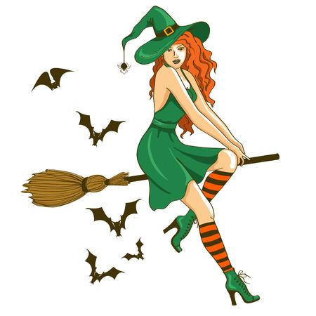 brujas sexis: Ilustración de carácter aislado joven y bella bruja sentado en la escoba
