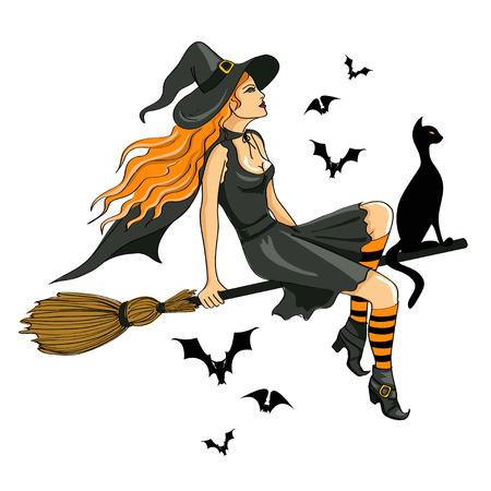 격리 된 젊은 아름다운 마녀의 빗자루에 앉아 그림 일러스트