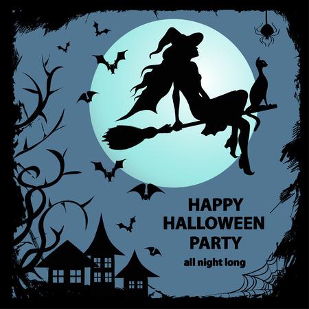Wenskaart of uitnodiging met het silhouet van de jonge heks zittend op de bezem Stock Illustratie