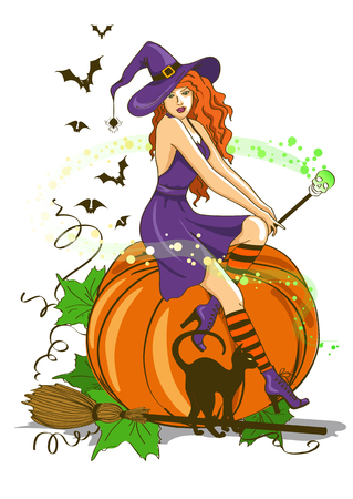 Illustration of isolated young beautiful witch sitting on the pumpkin and holding magic wand Vector