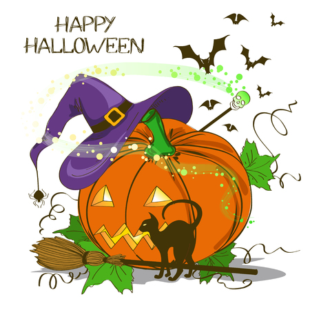 Halloween card or invitation with Jack O Lantern pumpkin , witch hat, cat, broom and magic wand Vector