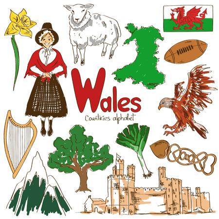 Leuke kleurrijke schets collectie van Wales iconen, landen alfabet