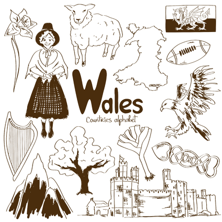 wales: Fun sketch collection of Wales icons, countries alphabet Illustration