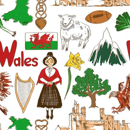 Fun colorful sketch Wales seamless pattern  Illustration