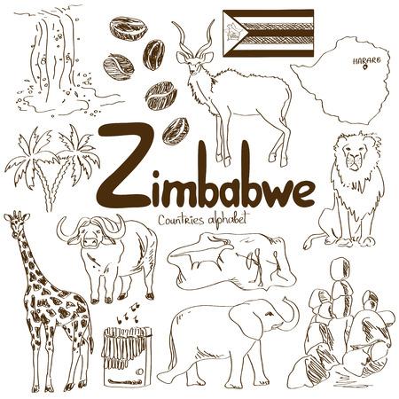ジンバブエのアイコンは、国のアルファベットの楽しいスケッチ集