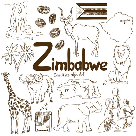 Fun sketch collection of Zimbabwe icons, countries alphabet Illustration