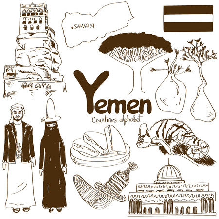 Fun sketch collection of Yemen icons, countries alphabet