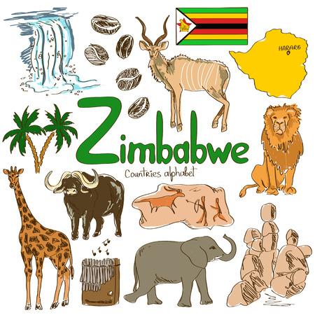 zimbabwe: Diversión colección bosquejo colorido de iconos Zimbabue, alfabeto países