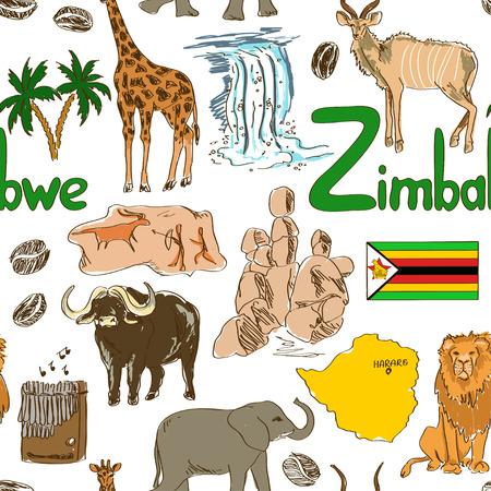 zimbabwe: Bosquejo colorido de la diversión Zimbabwe patrón transparente
