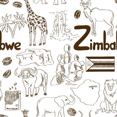 zimbabwe: Boceto Diversión Yemen patrón transparente