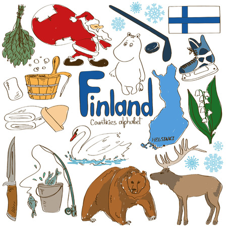 finland: Fun colorful sketch collection of Finland icons, countries alphabet