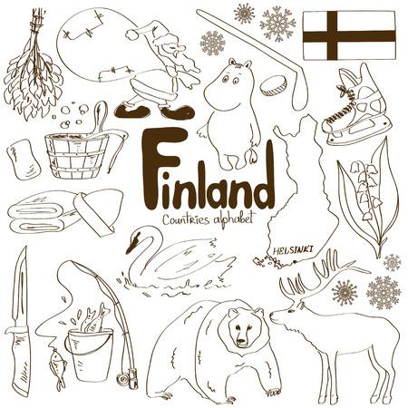 핀란드 아이콘의 재미 스케치 수집, 국가 알파벳 일러스트