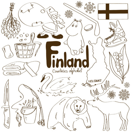 Fun sketch collection of Finland icons, countries alphabet