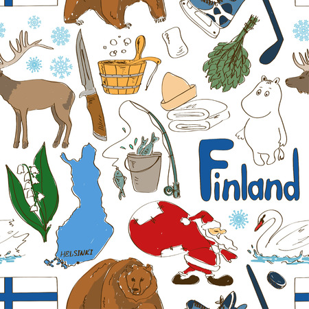 lapland: Fun colorful sketch Finland seamless pattern