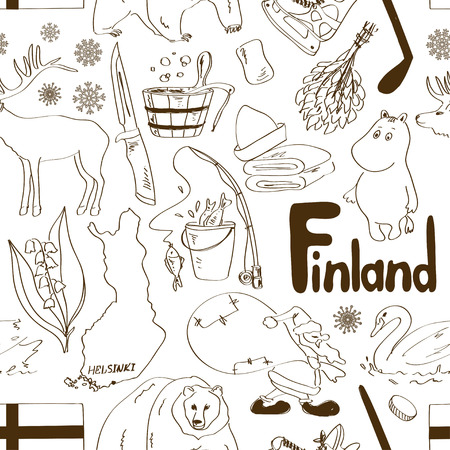 finland: Fun sketch Finland seamless pattern