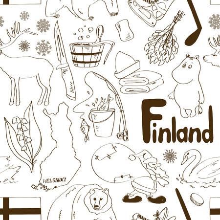 Fun sketch Finland seamless pattern