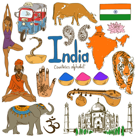 Fun colorful sketch collection of India icons, countries alphabet