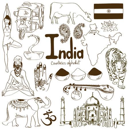 guru: Fun sketch collection of India icons, countries alphabet