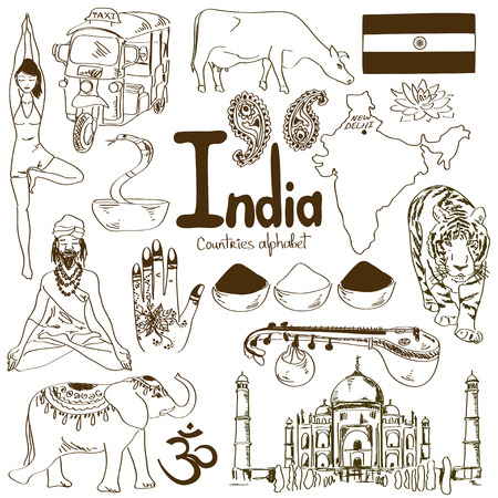 Fun sketch collection of India icons, countries alphabet