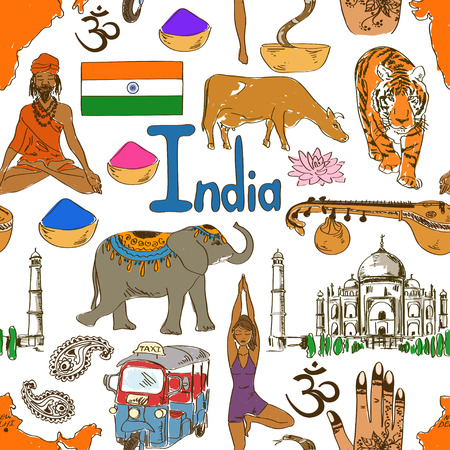 sadhu: Fun colorful sketch India seamless pattern