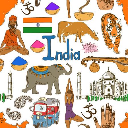 sadhu: Fun colorful sketch India seamless pattern
