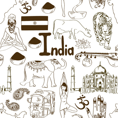 Fun sketch India seamless pattern Vector