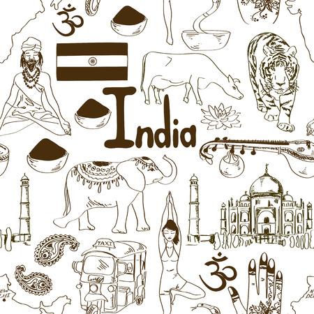 sadhu: Fun sketch India seamless pattern Illustration