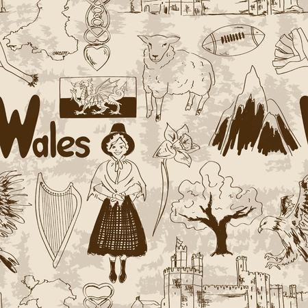 welsh flag: Fun retrò schizzo Galles seamless pattern Vettoriali