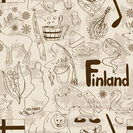 finland sauna: Fun retro sketch Finland seamless pattern