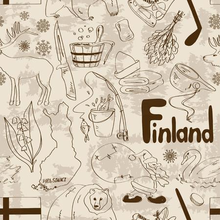 lapland: Fun retro sketch Finland seamless pattern