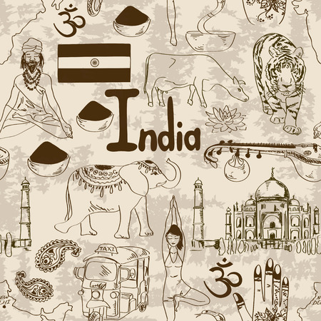 sadhu: Fun retro sketch Indian seamless pattern