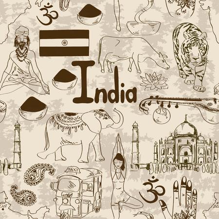 sadhu: Fun retro sketch Indian seamless pattern