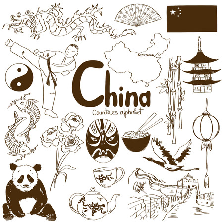 Fun sketch collection of Chinese icons, countries alphabet Vector