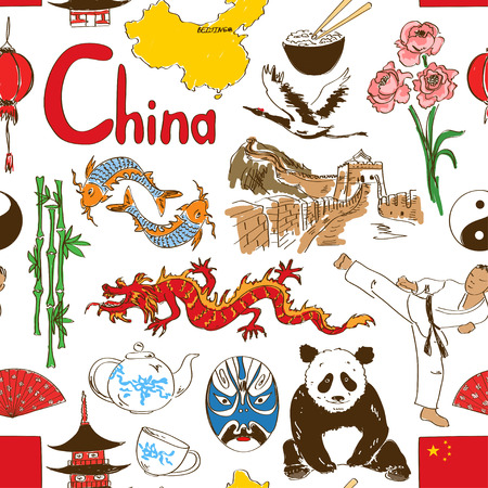 great wall of china: Fun colorful sketch Chinese seamless pattern Illustration