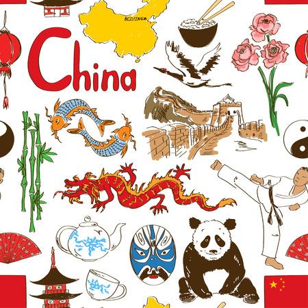 Fun colorful sketch Chinese seamless pattern Illustration