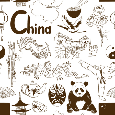 Fun sketch Chinese seamless pattern Vector