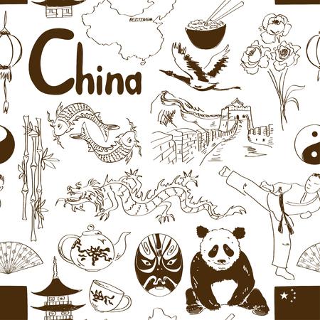 chinese tea pot: Fun sketch Chinese seamless pattern
