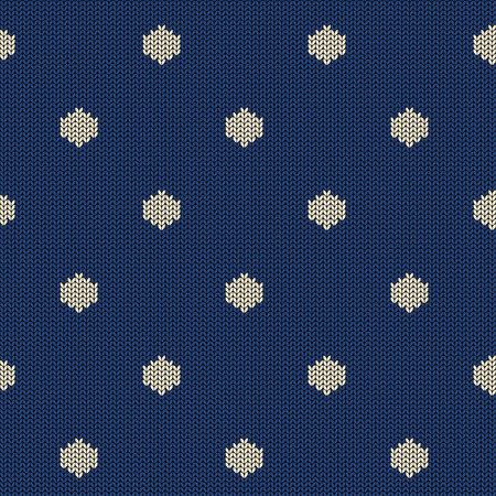 Seamless knitted pattern with blue white polka dot Иллюстрация