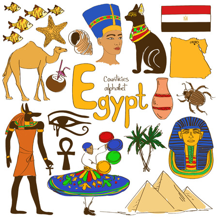 ojo de horus: Diversión colección bosquejo colorido de iconos de Egipto, alfabeto países Vectores