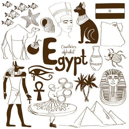 ojo de horus: Diversión colección esbozo de iconos de Egipto, alfabeto países Vectores