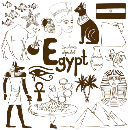 Fun sketch collection of Egypt icons, countries alphabet