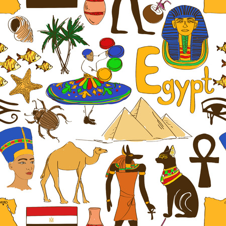 ojo de horus: Bosquejo colorido de Egipto patrón transparente Vectores