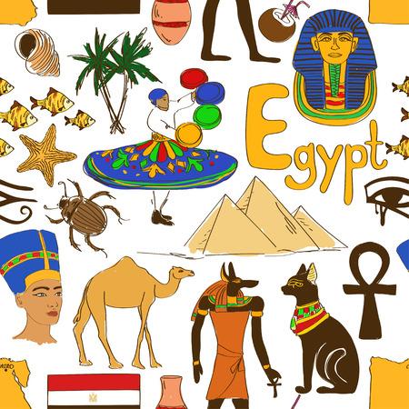 ankh: Colorful sketch Egypt seamless pattern